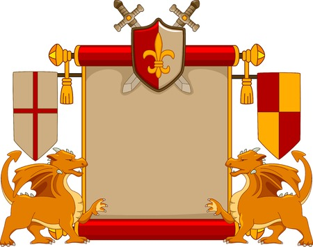 Illustration Featuring a Blank Scroll with a Medieval Design Vector