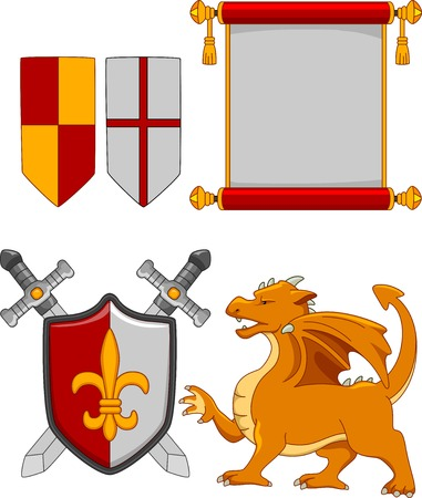 Illustration Featuring Different Medieval Elements Vector