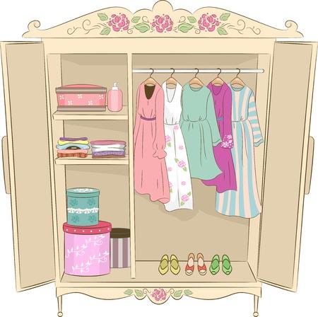 гардероб: Иллюстрация Благодаря шкаф с потертый шик дизайна