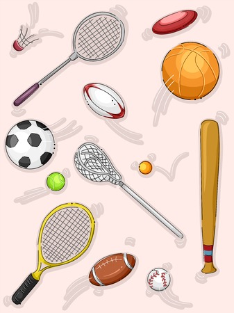 soccer equipment: Illustration Featuring Different Sports Equipment