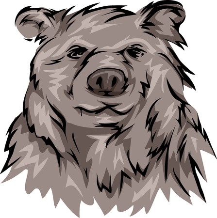 the thick forest: Illustration Featuring a Grizzly Bear