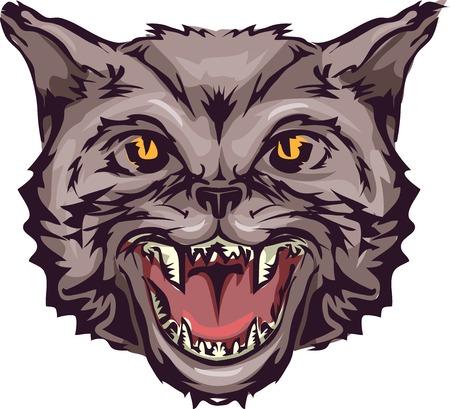 opened mouth: Ilustraci�n con un gato salvaje con su boca abierta