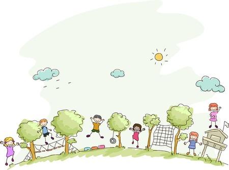bambini che giocano: Illustrazione con bambini che giocano in un campo estivo Vettoriali