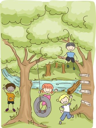 Illustratie met de kinderen spelen in het bos Stock Illustratie