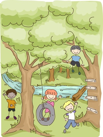 summer camp: Illustration Featuring Kids Playing in the Woods