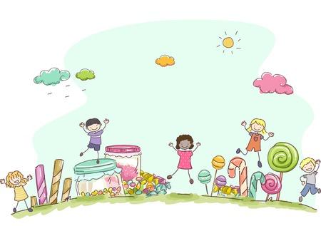 bonhomme allumette: Illustration Dot� d'enfants Entour� par diff�rents types de bonbons