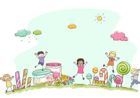 stickman: Illustration Featuring Kids Surrounded by Different Types of Candies