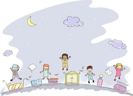 pijamada: Ilustración con niños en ropa de noche tienen una fiesta de pijamas Vectores