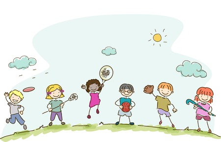 Illustratie die Kids spelen verschillende sporten