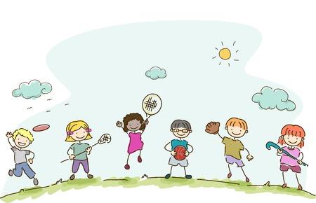 niños jugando: Ilustración con niños jugando Diferentes Deportes Vectores