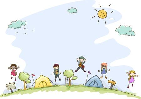 campamento: Ilustración con niños en un campamento de verano Vectores