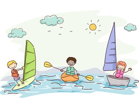 kayaking: Illustration Featuring Kids Trying Out Different Water Sports Illustration