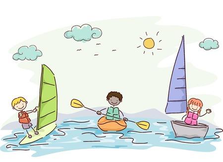 windsurf: Ilustración con niños probar diferentes deportes acuáticos