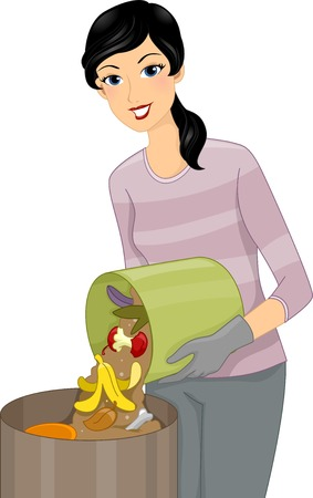 compost: Illustration Featuring a Woman Adding More Garbage to a Compost Bin Illustration