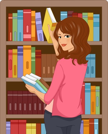librarian: Illustration Featuring a Girl in a Library Selecting Books
