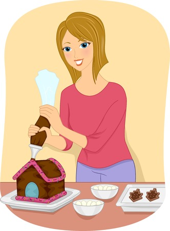 Illustration Featuring a Girl Decorating a Gingerbread House Vector