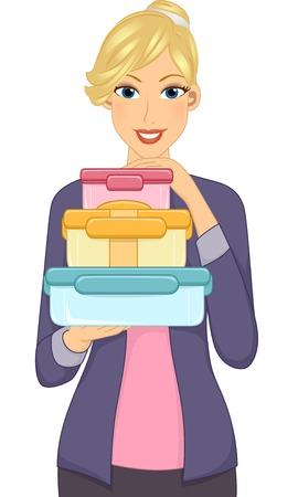 potluck: Illustration Featuring a Woman Carrying a Stack of Food Containers