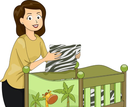 baby crib: Illustration Featuring a Young Mother Fixing a Crib with a Safari Theme