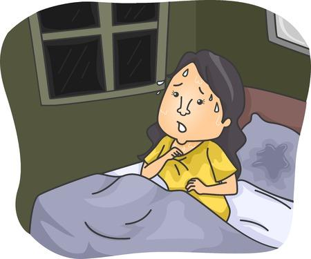 Ilustración con una mujer empapada de sudor después de despertarse de una pesadilla