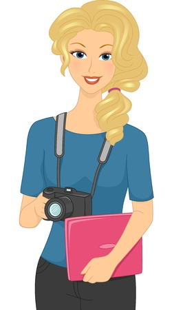 Illustration Featuring a Female Photographer Carrying a Laptop Vector