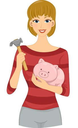 thrift: Illustration Featuring a Girl Holding a Hammer with One Hand and a Piggy Bank with Another