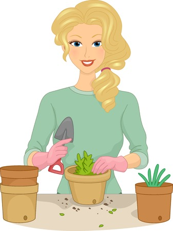 Illustration Featuring a Girl Planting Plants in a Pot Vector