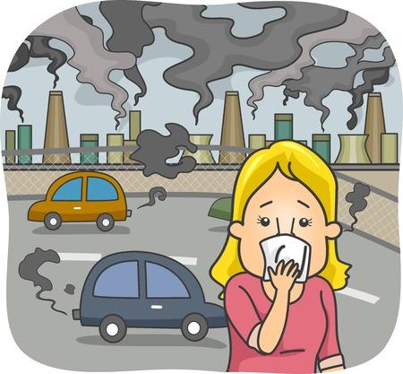 Illustrazione con una donna in una città inquinata che copre il suo naso Vettoriali