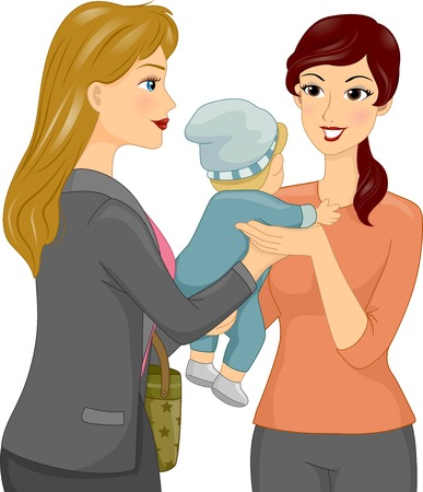 Illustration Featuring a Female Babysitter Taking a Baby From its Mother Illustration