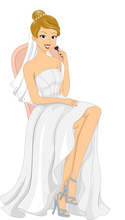 Illustration Featuring a Bride Holding a Makeup Brush Vector