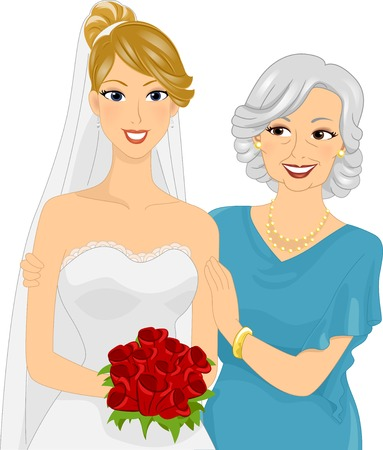 bride bouquet: Illustration Featuring a Young Bride and Her Mom Illustration