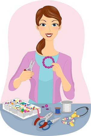 Illustration Featuring a Girl Making Homemade Jewelry Vector