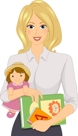 teaching adult: Illustration Featuring a Female Daycare Worker
