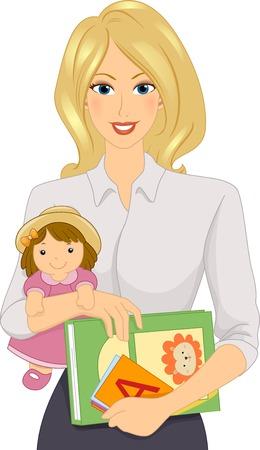 maestra preescolar: Ilustración que ofrece una guardería Trabajador de sexo femenino