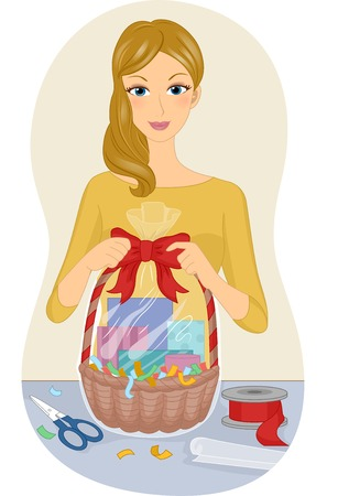 gift basket: Illustration Featuring a Woman Making a Gift Basket