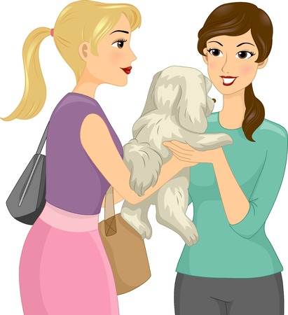 accept: Illustration of a Female Pet Sitter Accepting a Dog Illustration