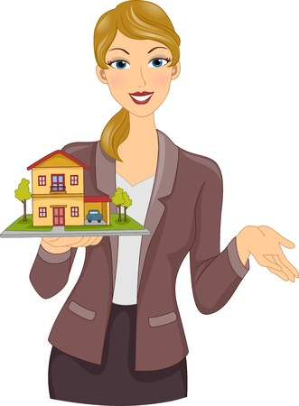 brokers: Illustration Featuring a Real Estate Agent Holding a Model House and Lot