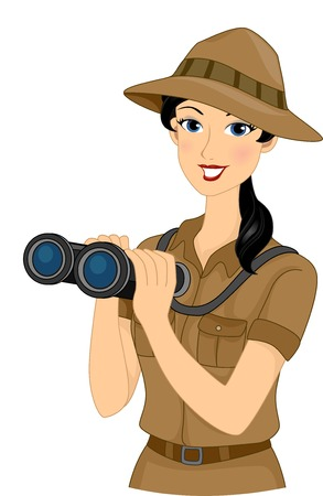 Illustration Featuring a Girl Dressed in a Safari Outfit Holding a Pair of Binoculars Vector