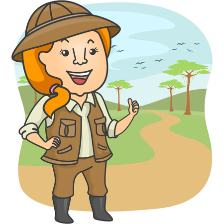 tour guide: Illustration Featuring a Female Safari Tour Guide