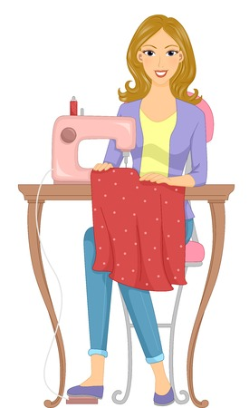 Illustration Featuring a Girl Making a Dress Using a Treadle Sewing Machine Vector