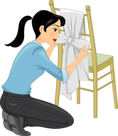 event management: Illustration Featuring a Woman Tying a Ribbon to a Tiffany Chair