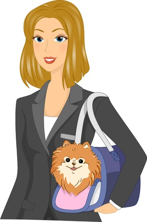 bringing: Illustration Featuring a Woman Bringing Her Dog to Work