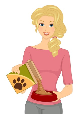 Illustration Featuring a Woman Pouring Dog Food on Her Dogs Bowl Vector