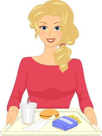 eating habits: Illustration Featuring a Woman Sitting in Front of a Tray Filled with Fastfood Illustration