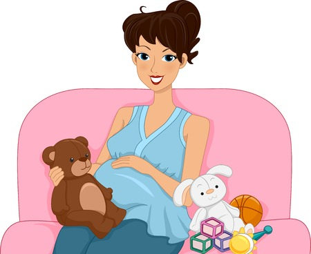 baby bump: Illustration Featuring a Pregnant Woman Surrounded by Toys Illustration