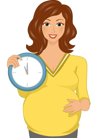 Illustration Featuring a Pregnant Woman Holding a Clock Vector
