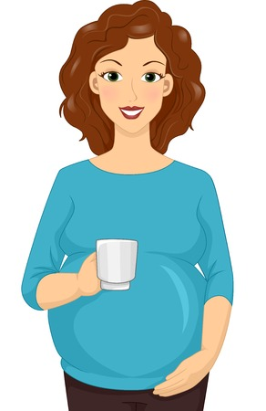 hot woman: Illustration Featuring a Pregnant Woman Holding a Cup of Hot Drink