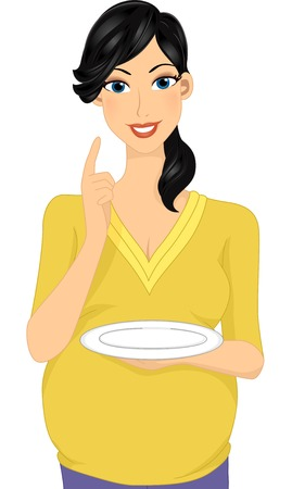 Illustration Featuring a Pregnant Woman Holding an Empty Plate Vector