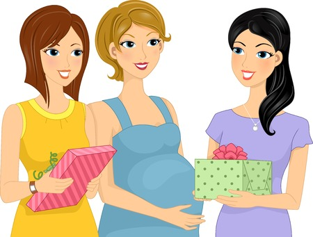 bump: Illustration Featuring Women Presenting Gifts to Their Pregnant Friend Illustration