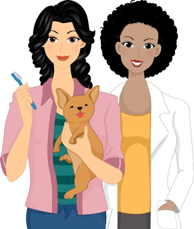 Illustration Featuring a Pet Owner Bringing Her Dog to the Vet for a Dental Check Vector