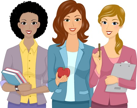 apple clipart: Illustration Featuring Female Teachers